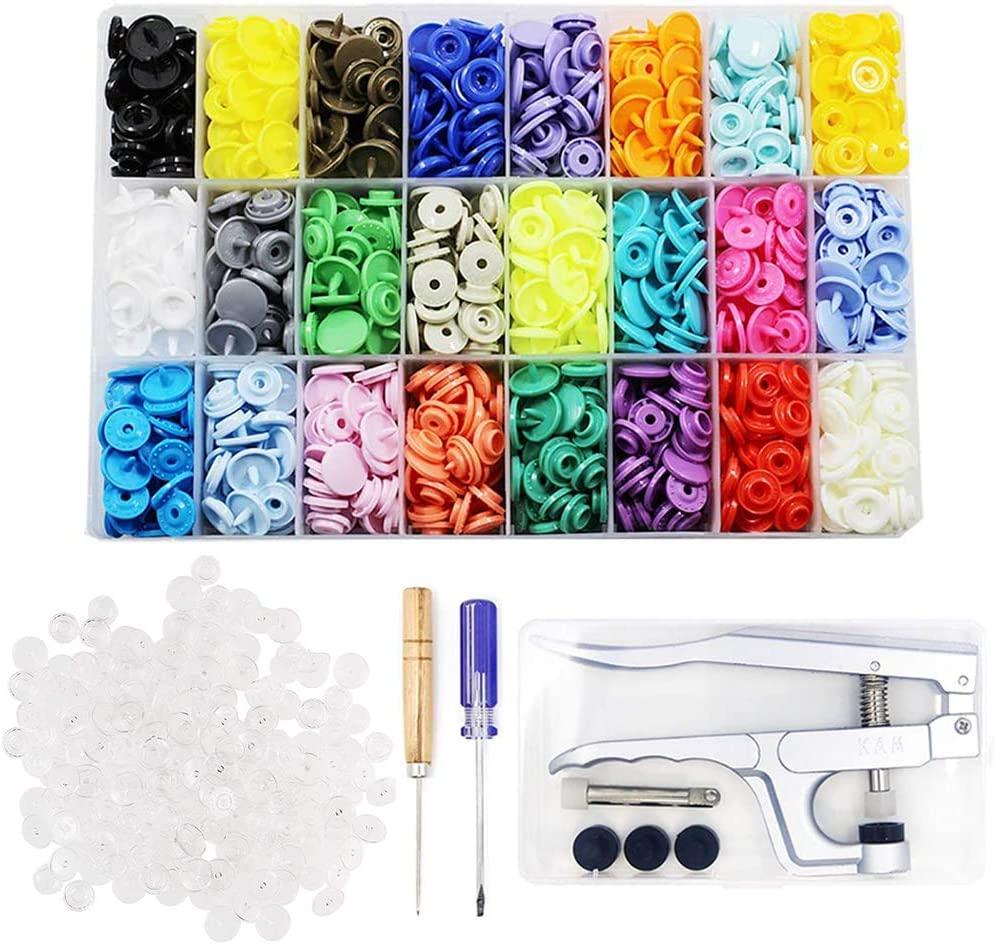 384 Sets 24-Colors + 200 Sets Clear + KAM Snap Pliers KAM Snaps Starter Kit Size 20 T5, BetterJonny Plastic Snaps Fasteners Kit for Clothing Tool Set