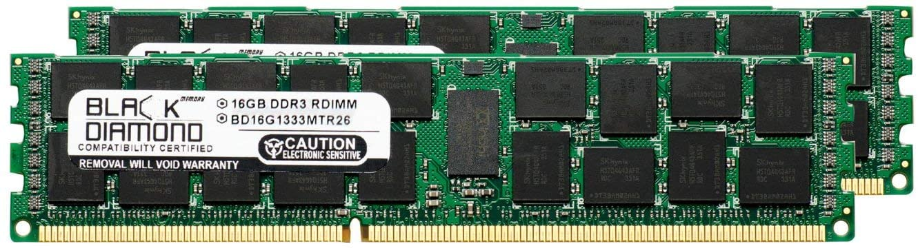 32GB 2X16GB Memory RAM for Dell PowerEdge R620 240pin PC3-10600 1333MHz DDR3 ECC Registered RDIMM Black Diamond Memory Module Upgrade