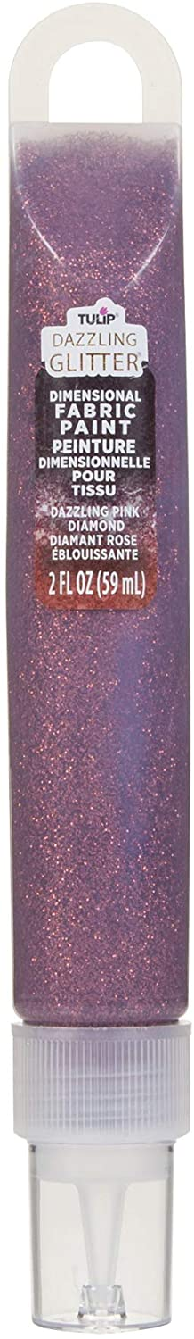 Duncan Toys Tulip Dazzling Glitter Dimensional Fabric Paint 2oz-Dazzling Pink