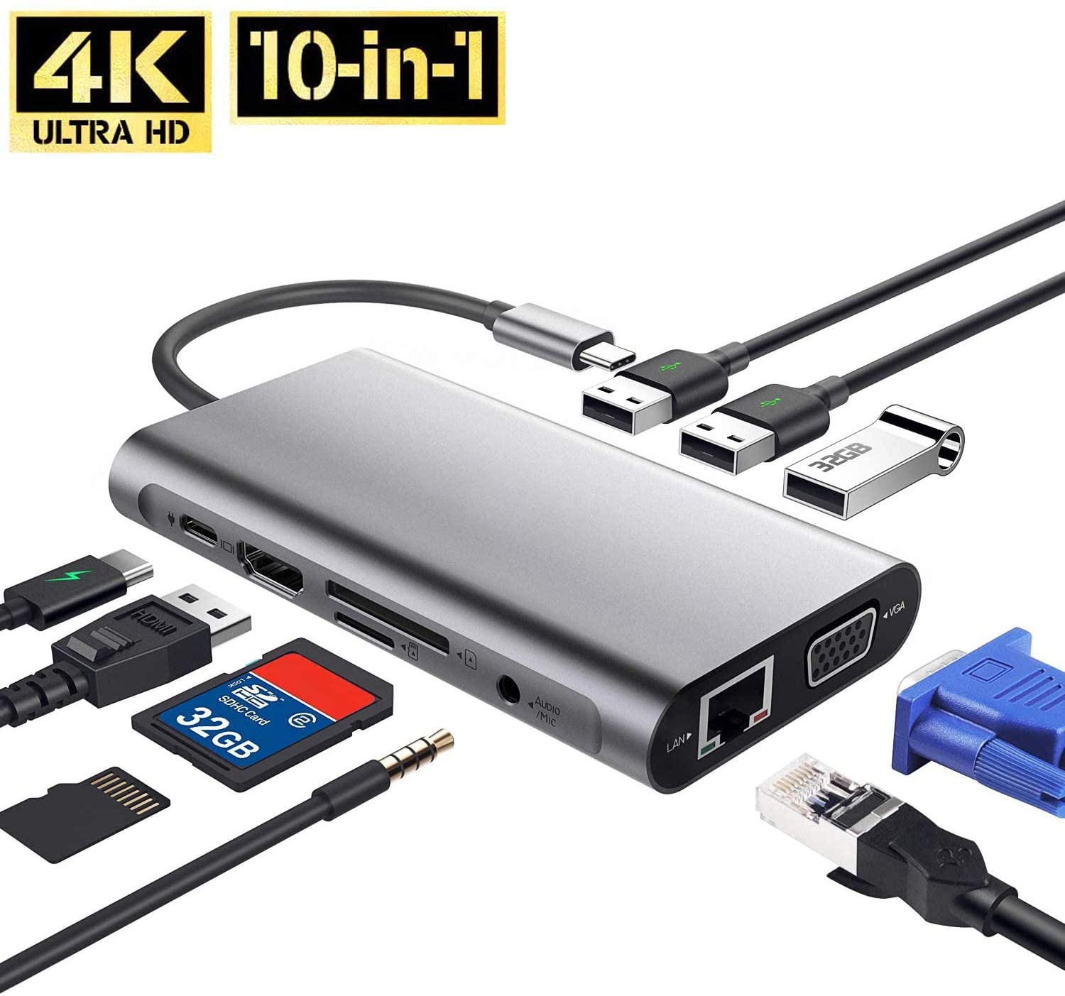 USB C Hub Laptop Docking Station, Senli 10-in-1 Type C Hub Adapter Dual Monitor Docking Station with 1000M RJ45 Ethernet, 4K HDMI, VGA, USB 3.0 Ports, PD Fast Charge, SD&TF Card Reader, Audio Mic Port