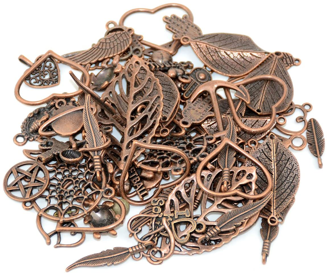 YYaaloa 100g (70-80pcs) Mixed Charms Pendants Assorted DIY Antique Red Copper Charms Pendant for Crafting Bracelet Necklace Jewelry Findings Jewelry Making Accessory(100g Mixed Red Copper)