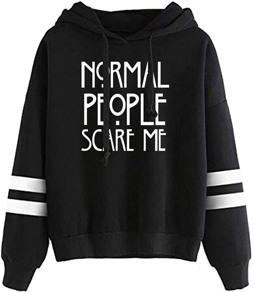 LHAYY Women Teen Girls Normal People Scare Me Striped Hoodie Letter Print Tops Hoodies Sweater