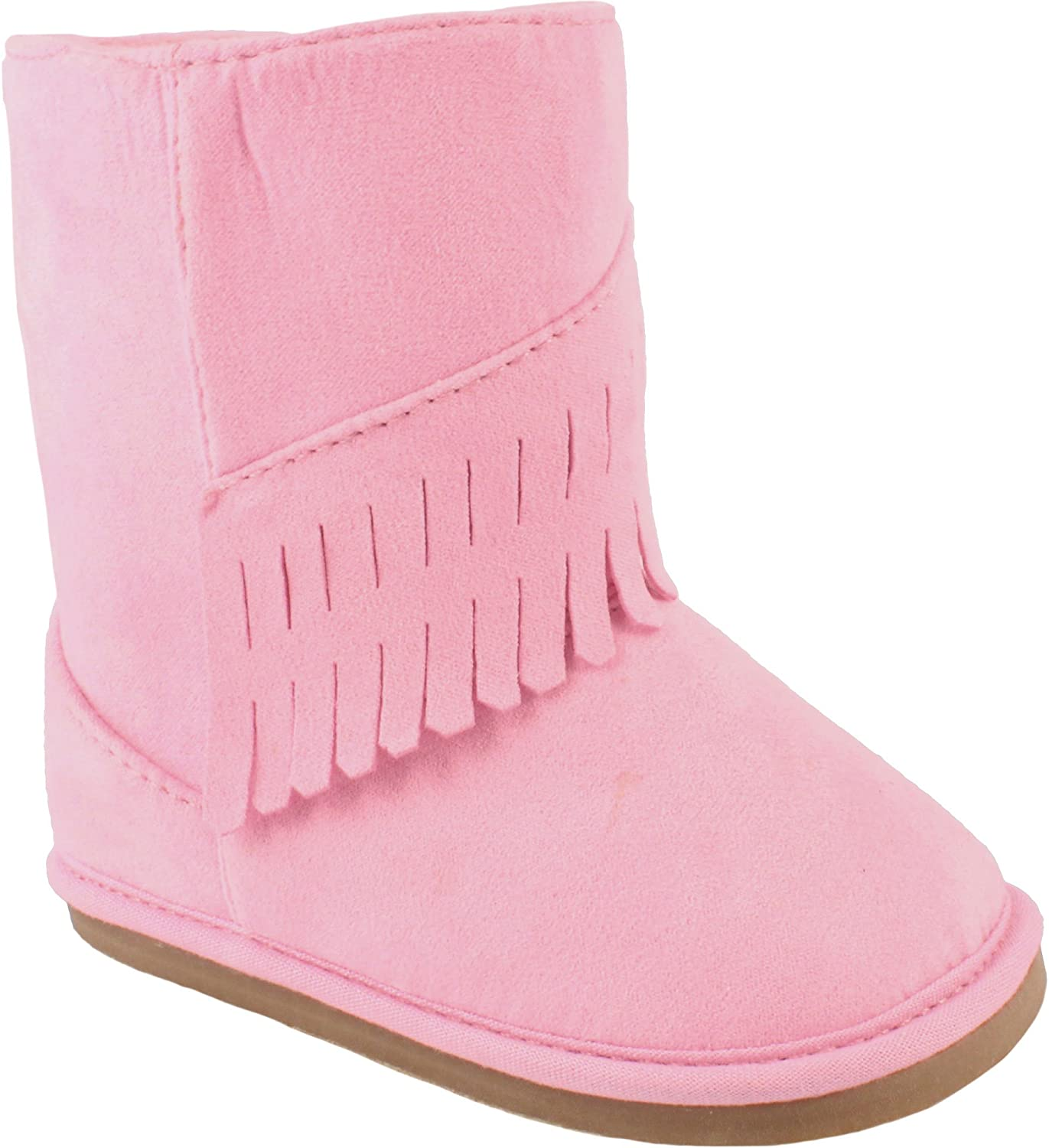 Wee Kids Baby-Girls Suede Western Boots with Fringe Infant Toddler Walking Shoes Cowboy Cowgirl Moccasin