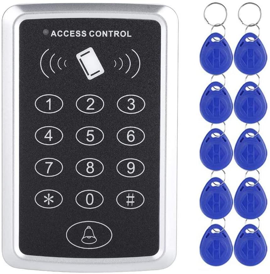 LBS Standalone Door Access Control System Keypad RFID Keyboard for Door Release + 10 Keyfobs (B: IC(MIFARE) Type)