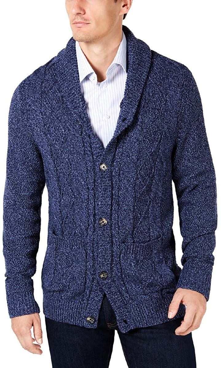 Club Room Mens Cable Knit Shawl Collar Cardigan Sweater