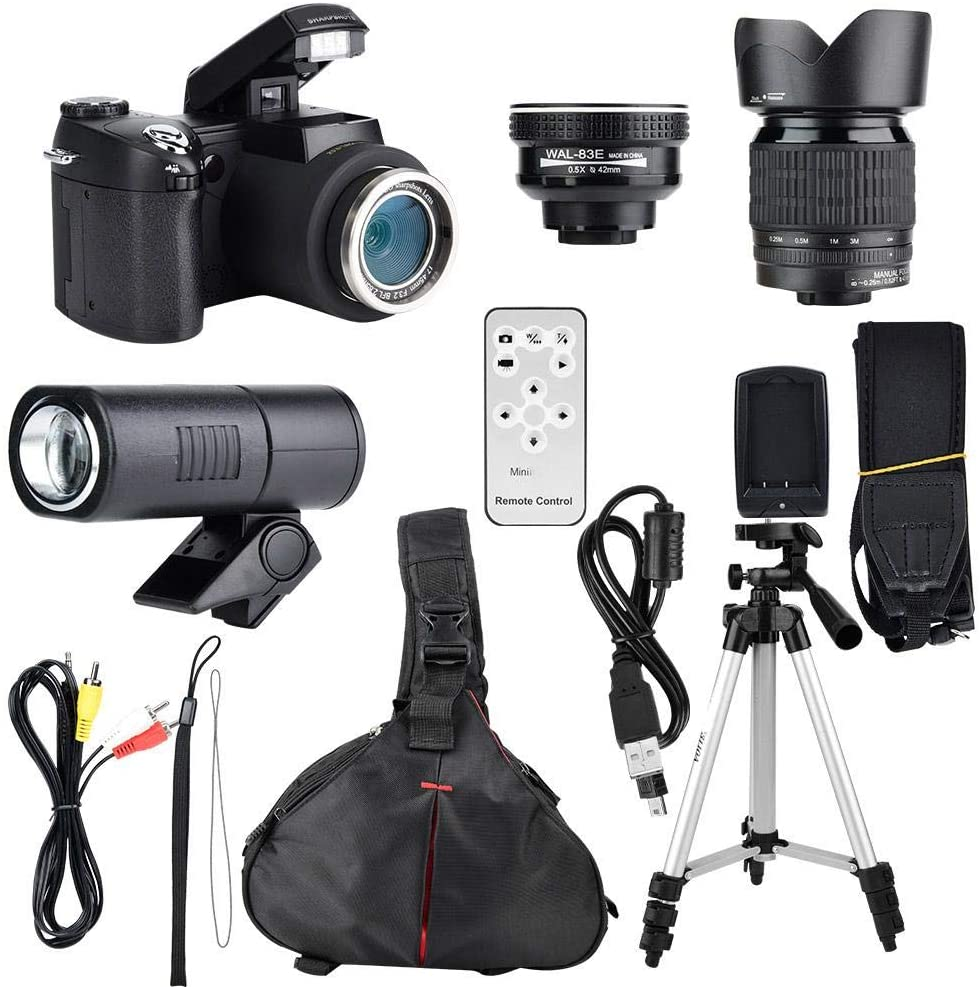 Yanmis Camcorder Camera, 33MP HD Wide Angle Lens, 24X Telephoto Lens, LED, Tripod and More Accessories, Autofocus Camera with Standard Lens