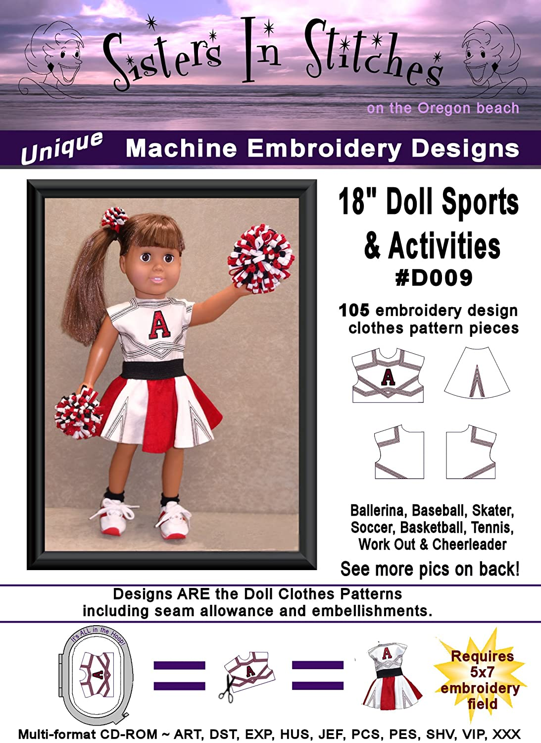 18 Doll Sports & Activities - In the Hoop - Machine Embroidery Designs