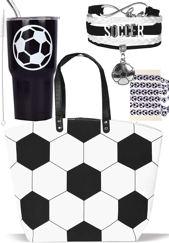 Soccer Tote Bag for Woman, Soccer Mom Tote, Soccer Tumbler, Soccer Gift Set, Soccer Bags for Moms, Soccer Bracelet for Women, Soccer Hair Pony Tails, Soccer Mom Gifts, Soccer Cup 30 oz with Lid, Straw