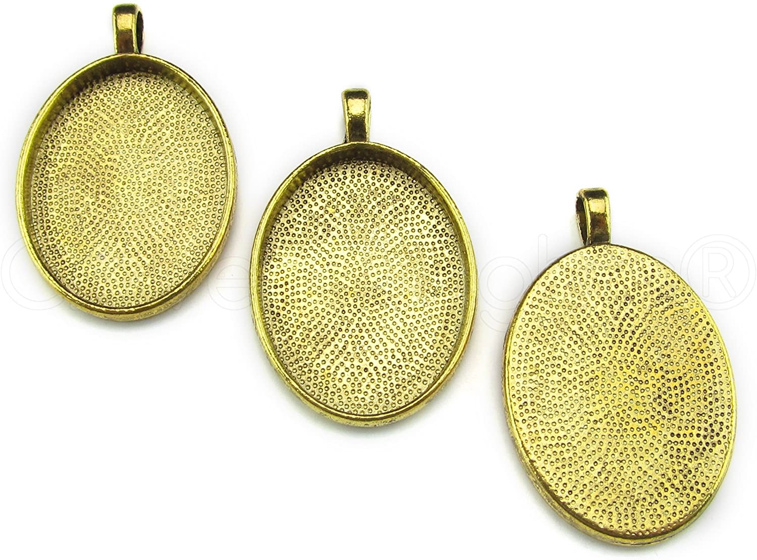 20 Pack - CleverDelights 22x30mm Oval Pendant Trays - Antique Gold Color