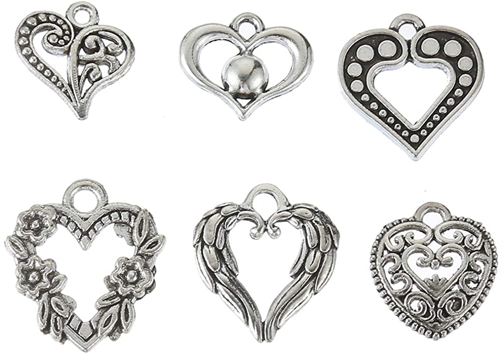 102PCS Mixed Style Antique Silver Plated Hollow Lovely Heart Charms Pendant Bracelets Necklace Jewelry Findings Jewelry Making Craft DIY (a-1071)