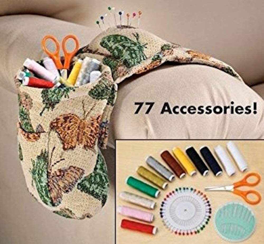 Butterfly Tapestry Armrest Organizer Set w/ Sewing Kit
