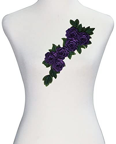 1piece 3D Embroidery Applique Lace Cord Motif Patches DIY Craft Sewing Supplies T2440 (purple)