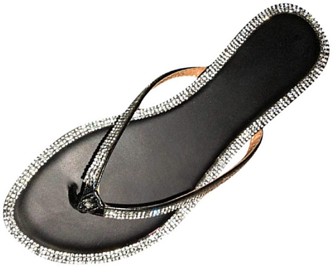 Tsmile Women's Rhinestone Glitter Slipper Lightweight Casual Beach Indoor Outdoor Crystal Flip Flop Toe Post Sandal