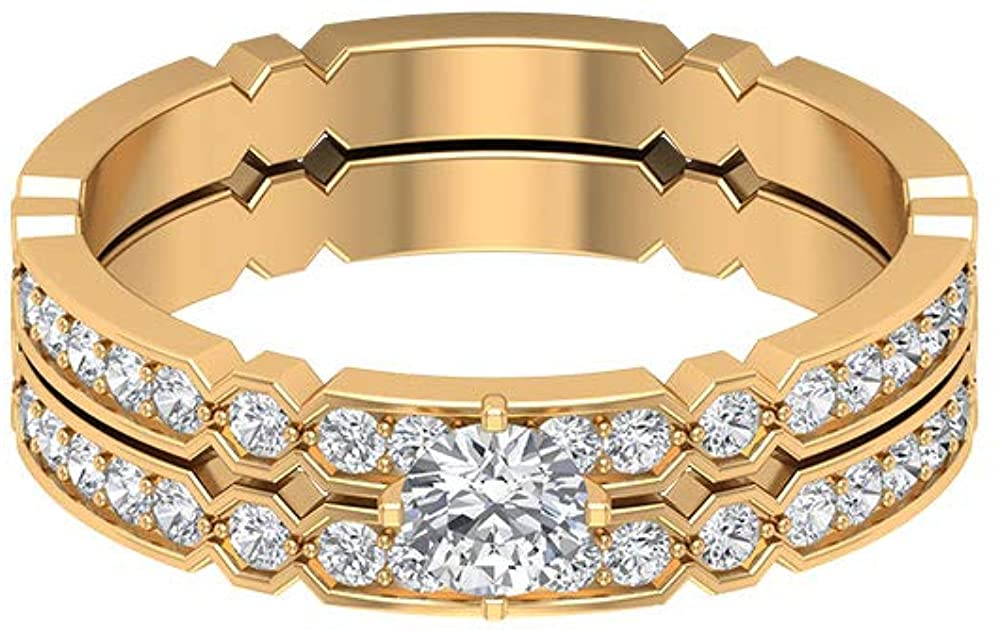 0.71 Ct Certified Moissanite Bridal Ring Set, Unique Wedding Band Ring, DE-VS1 Color Clarity Solitaire Gemstone Ring, Statement Women Eternity Ring, 14K Gold