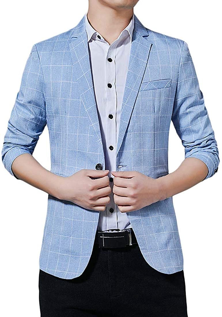 CRYYU Men's Casual Regular Fit Plaid Print Business Autumn Winter Dress Blazer Jacket Sport Coat