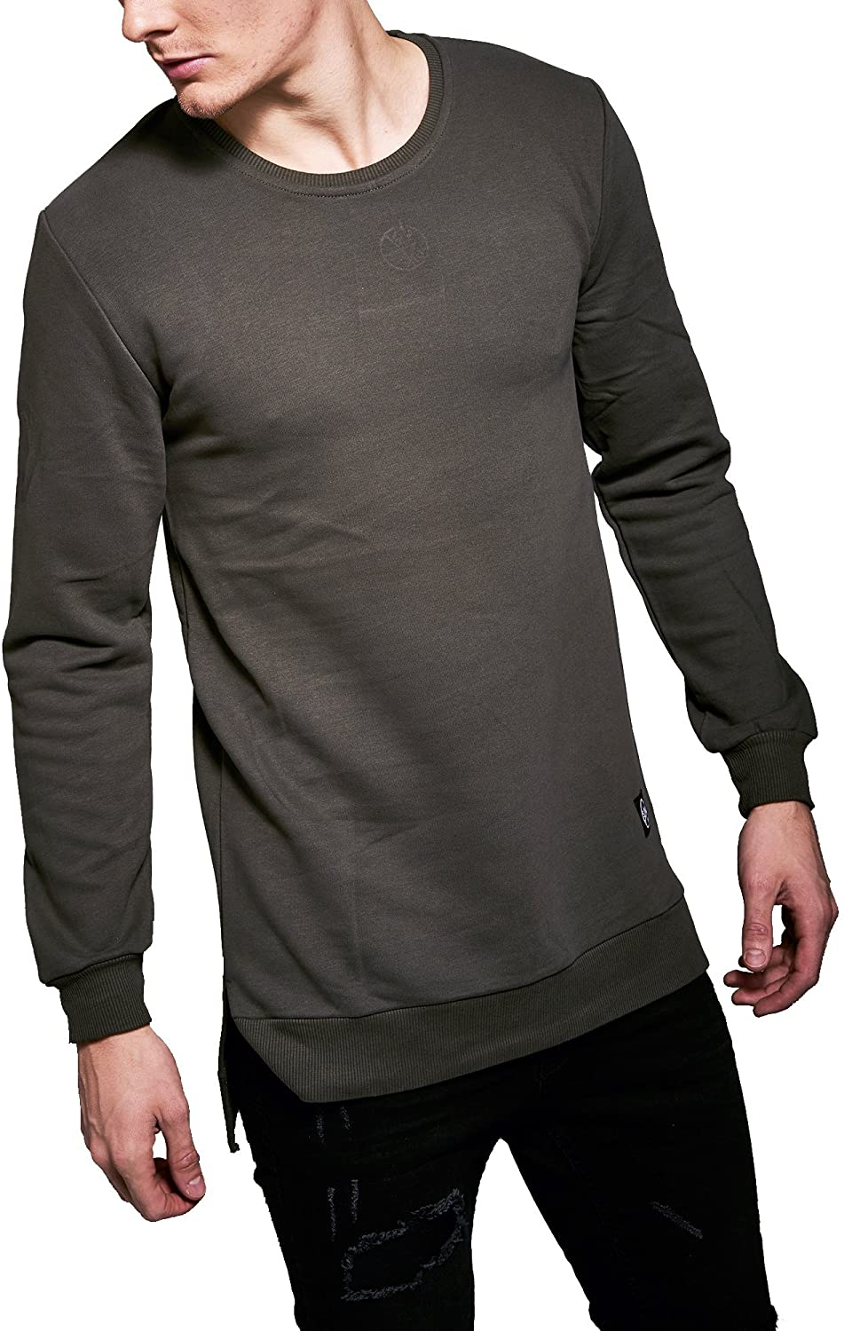 Monocloth Men's Street Wear Sweatshirt Oversized Basic Street Fashion Crew Neck Three Thread Plain Slim Fit 0002