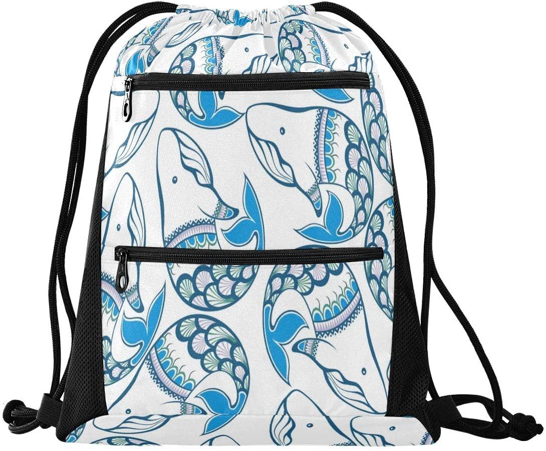 N /A Drawstring Backpack Bags for Women Men Stylish Colorful Geometric Fashion Gym String Sport Yoga Bag