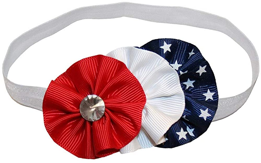 WD2U Baby Girls Red White Blue Shooting Star Patriotic Hair Bow Stretch Headband