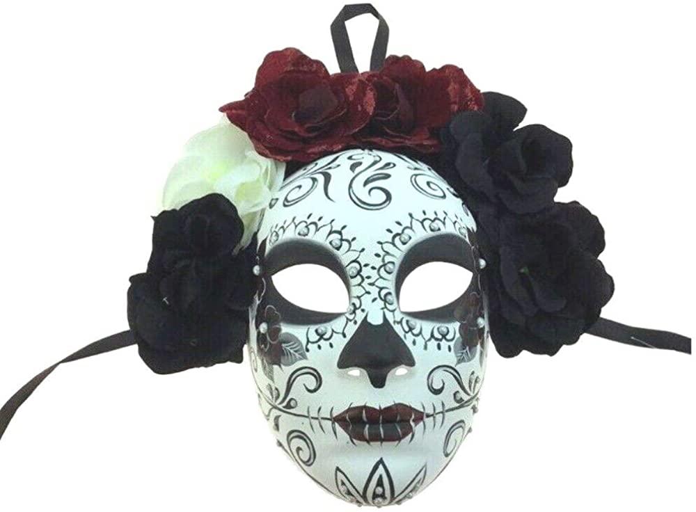 Day of The Dead Sugar Skull Face Mask Halloween Skeleton Women Bride Flowers