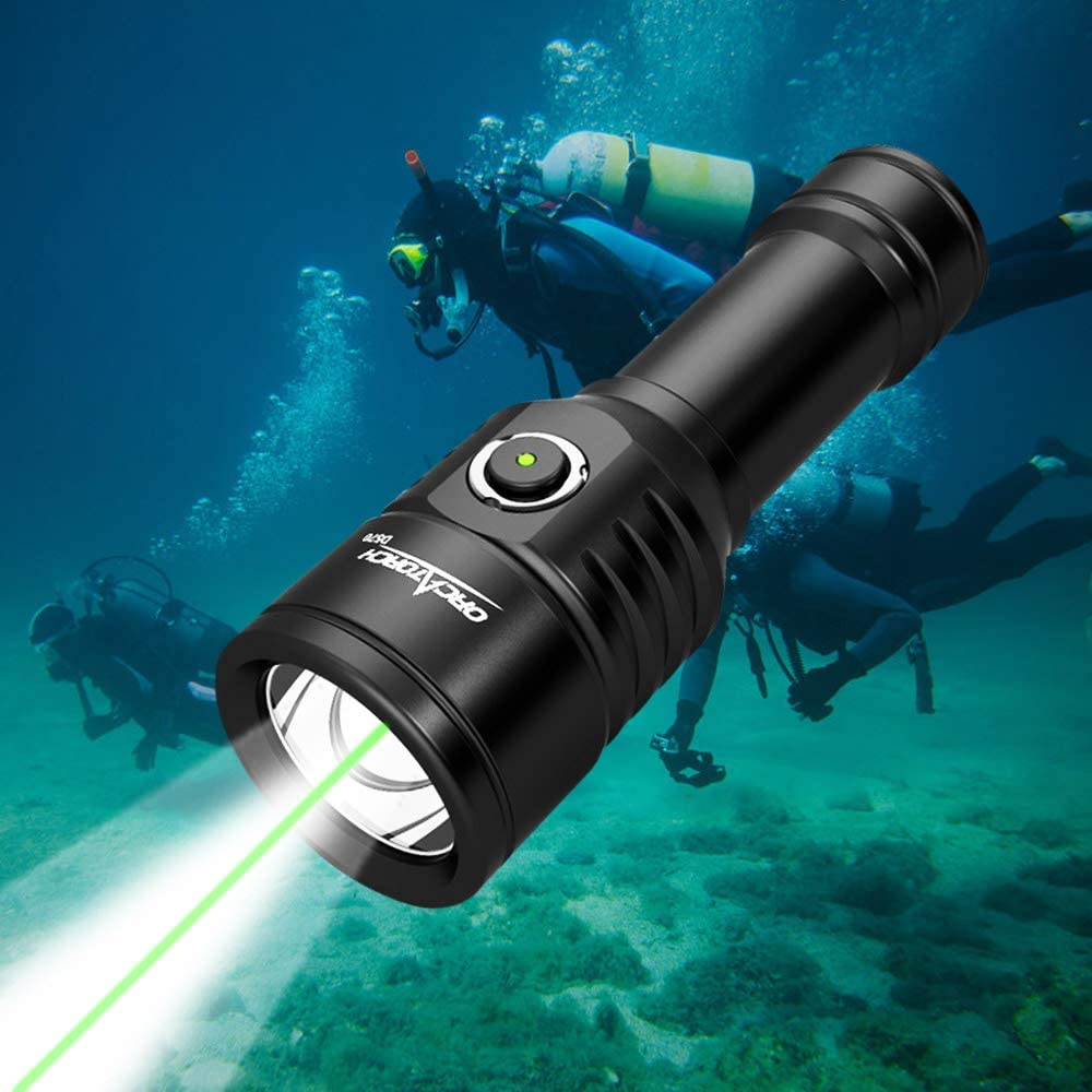 ORCATORCH D570-GL 2-in-1 Diving Safety Light with 1000 Lumens White Beam, 1000 Meters Green Light, Side Button Switch, Designed for Diving Instructors, Underwater 150 Meters Diving