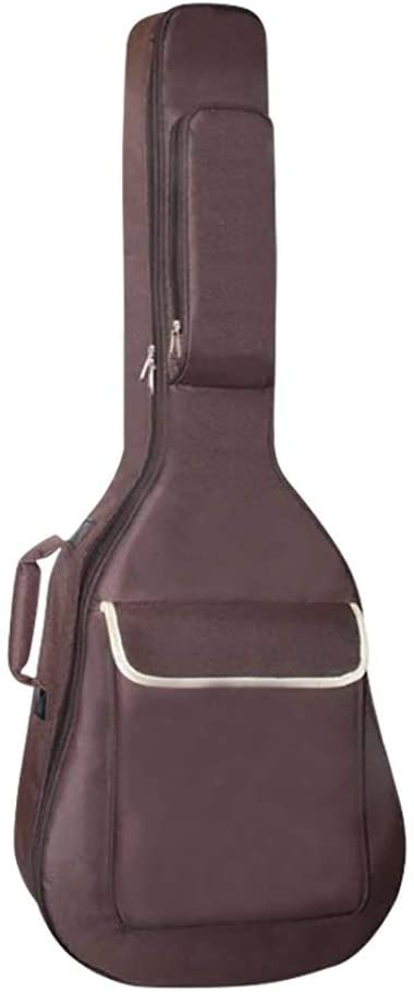 Qiupei Guitar Bag Folk Acoustic Guitar Case 12mm Thickened Waterproof Guitar Gig Bag Full Size Protective Backpack with Carry Handle for Home Storage Travel (Color : Brown, Size : 40/41 inch)