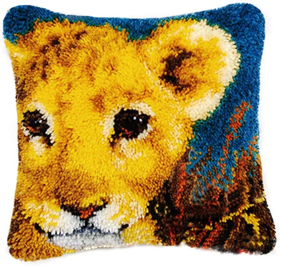 TQQT DIY Latch Hook Rug Kits Cushion Carpet Mat Cover Hand Craft Embroidery Pillowcase Crocheting Yarn Sewing Cartoon Handmade Baby Kids Adults Parents Gift Lion