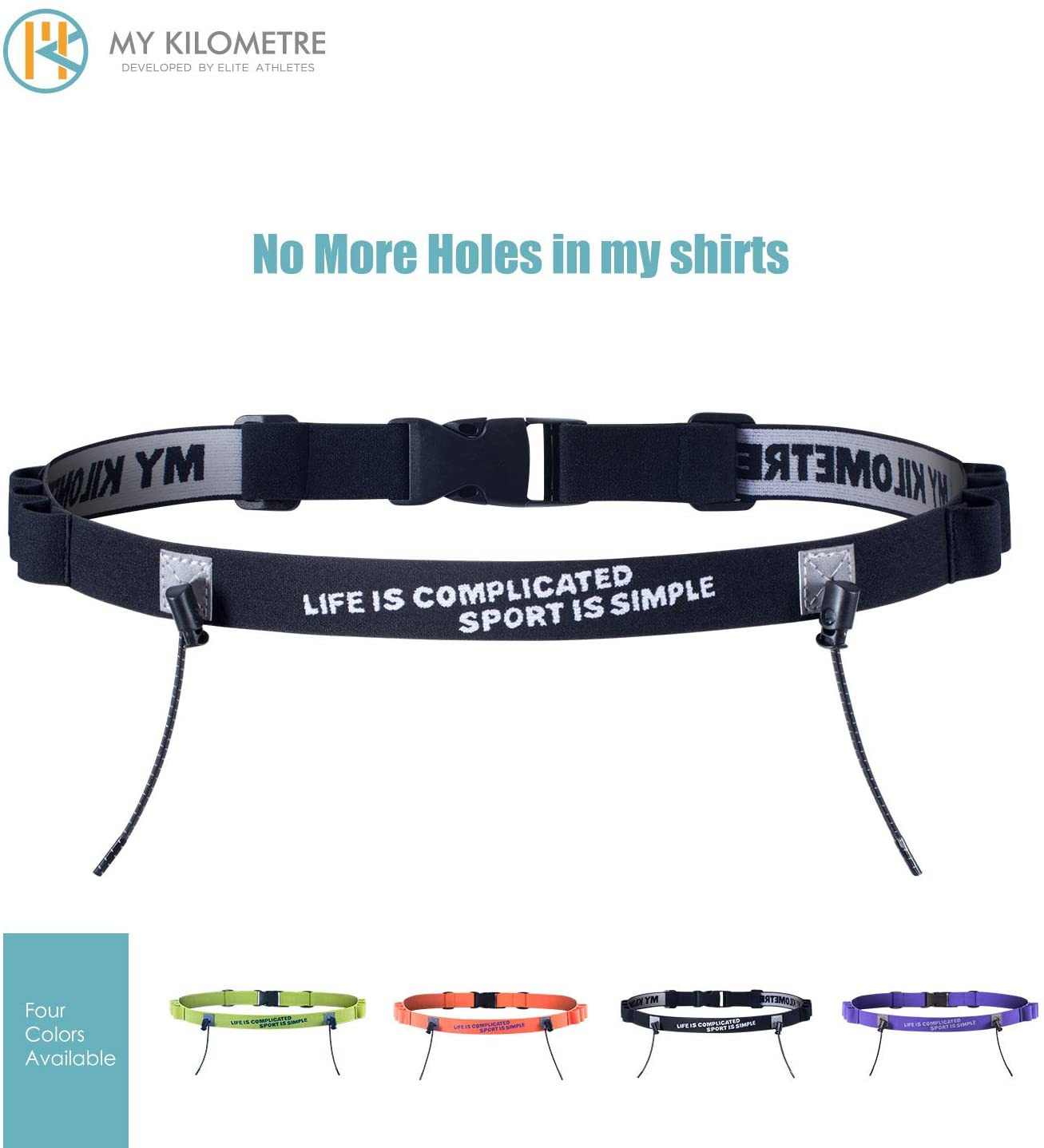 MY KILOMETRE Marathon Triathlon/Runners Running Race BIB Waist Hip Holders Number Card Belt
