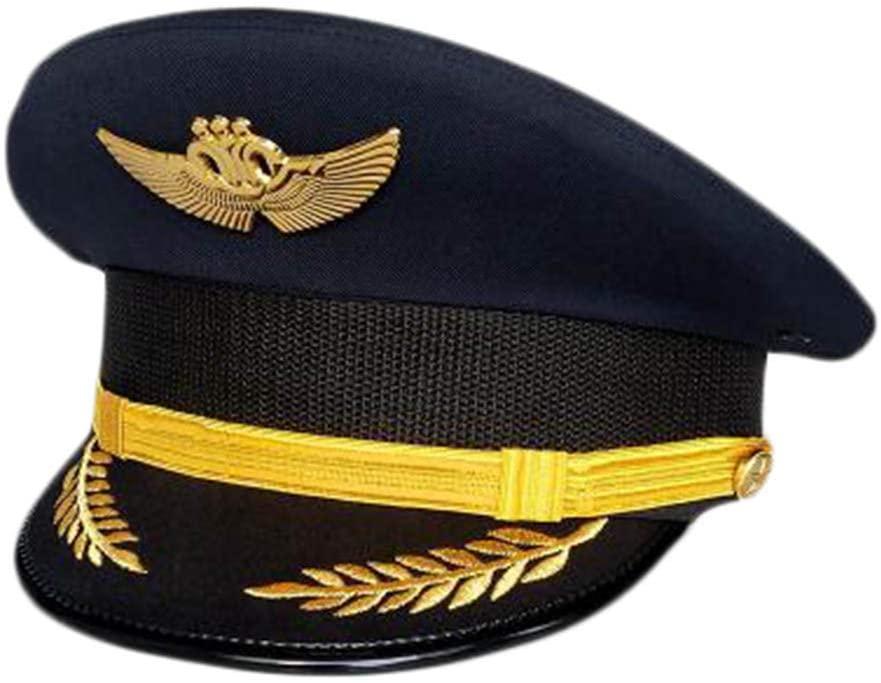George Jimmy Aircraft Captain Cap Uniform Aviation Cap Railway Hat Costume Accessory-A11