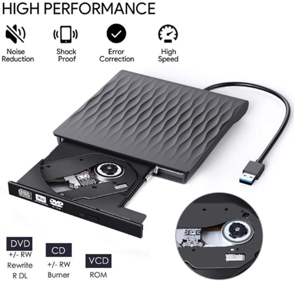 DSED CD DVD Drive External CD/DVD/RW Burner USB 3.0 Plug and Play CD ROM Player for Notebook Desktop Computers,Black