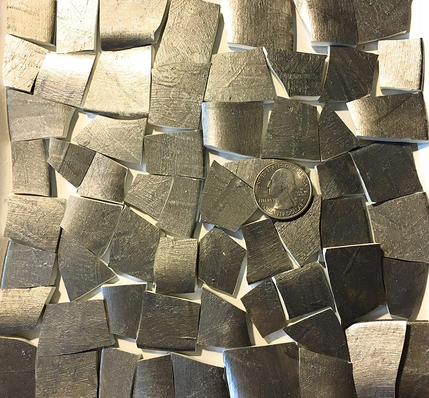 Mosaic Art and Crafts Supplies HP Hand Painted Recycled Broken Dish Tiles Metallic Pewter HP47