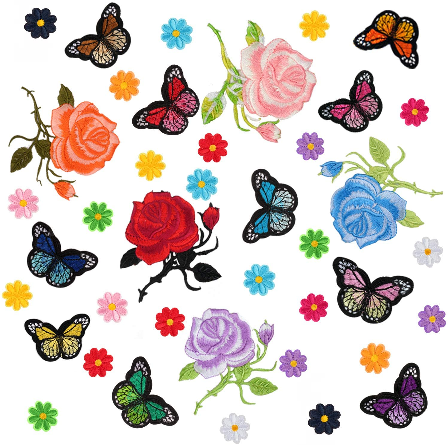 Haimay 40 Pieces Flowers Butterfly Iron on Patches Embroidery Applique Patches for Arts Crafts DIY Accessory,Jeans,Clothing,Bags