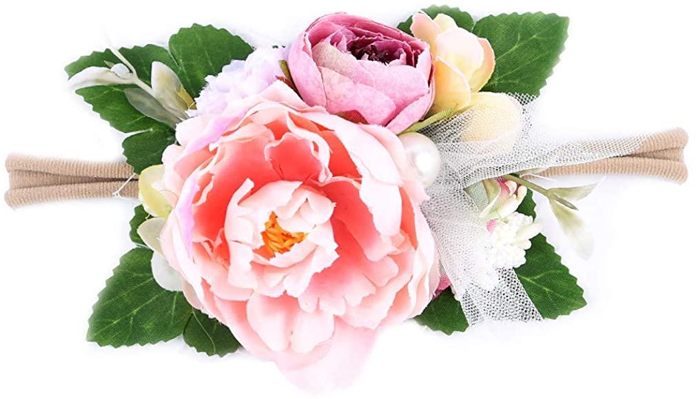 DEEKA Flower Crown Newborn Hair Bows Floral Headband for Baby Girl - Coral