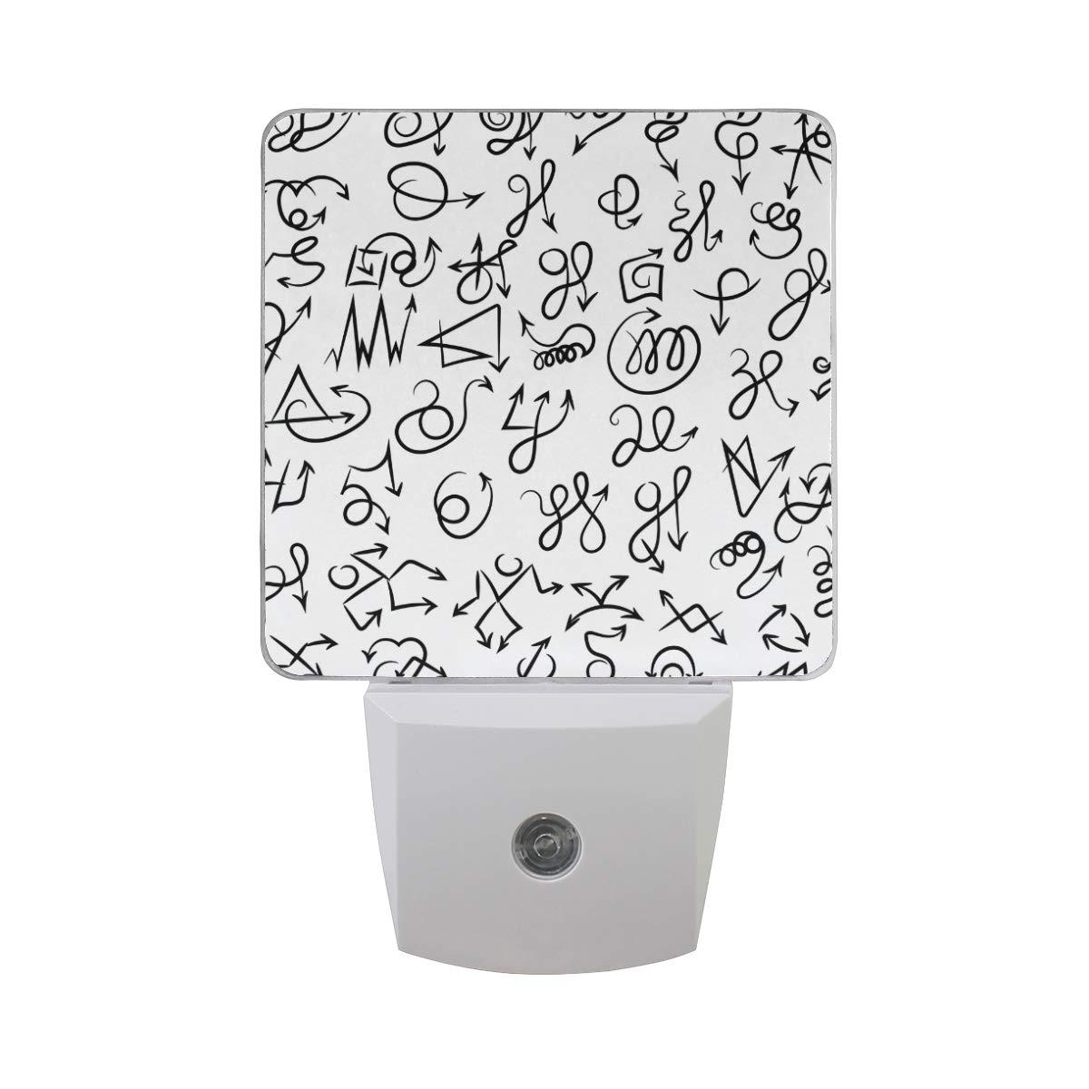 Night Light Arrow Doodles Vector Customized Plug-in LED Warm White Nightlight for Bedroom Bathroom Hallway Stairways Decorative 2 Pack