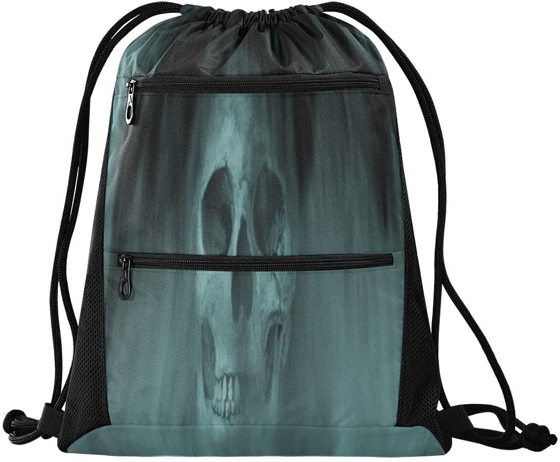N\ A Drawstring Bag Backpack Lightweight Dance Bag for Girls Boys Kids Art Skull Into Smoke Cool