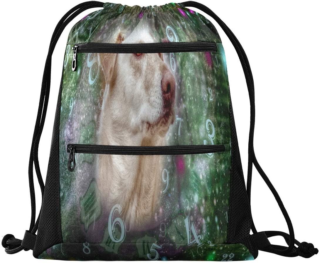 N /A Drawstring Backpack for Women Men Marvellous Thinking Numbers Dog Gym Bag Drawstring Backpacks Boys