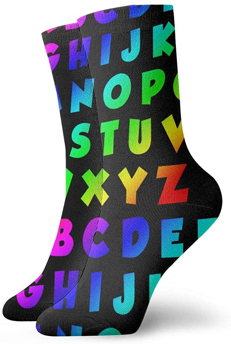 Alphabet Abc Women's Casual Athletic Stockings Short Crew Socks