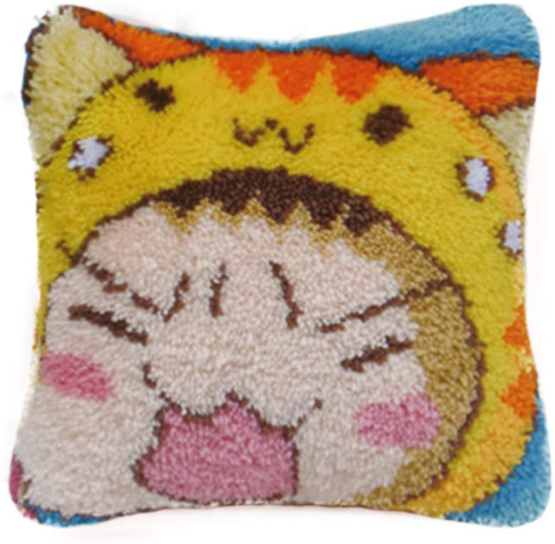 TQQT Latch Hook Rugs Kits DIY Cushion Carpet Mat Pillowcase Cover Hand Craft Cartoon Embroidery Crocheting for Adults Kids Parents Gifts Cats