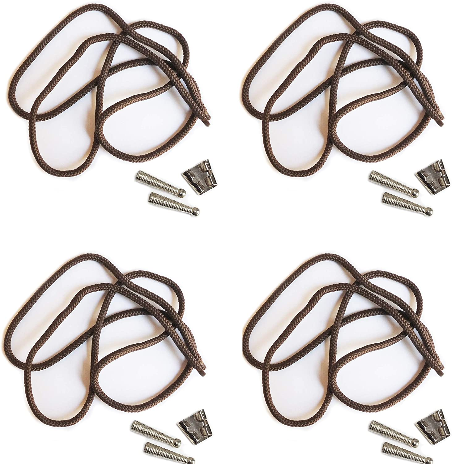 Blank Bolo String Tie Parts Kit Standard Slide Textured Tips Brown Cord DIY Silver Tone Supplies for
