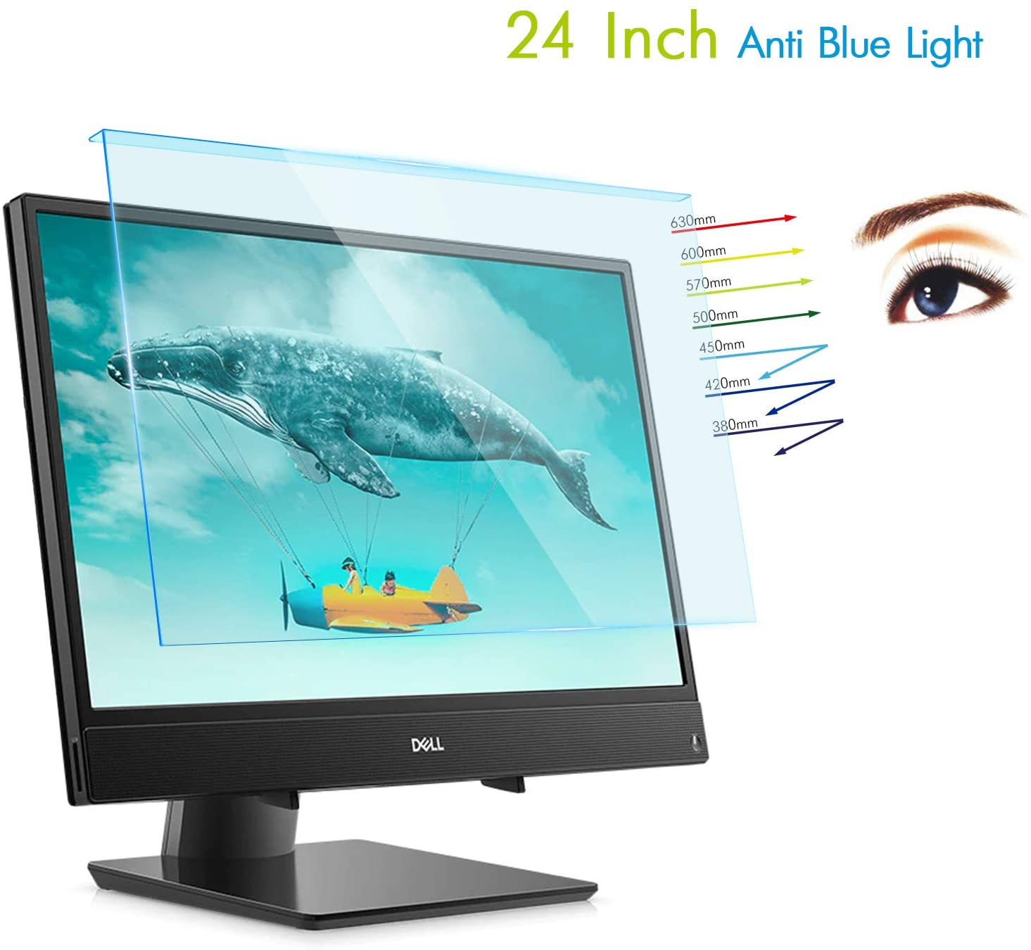 Lapogy 24 Inch Anti Blue Light Glare Acrylic Monitor Screen Protector for Computer Widescreen Desktop with 16:9 Aspect Monitor for 23-24