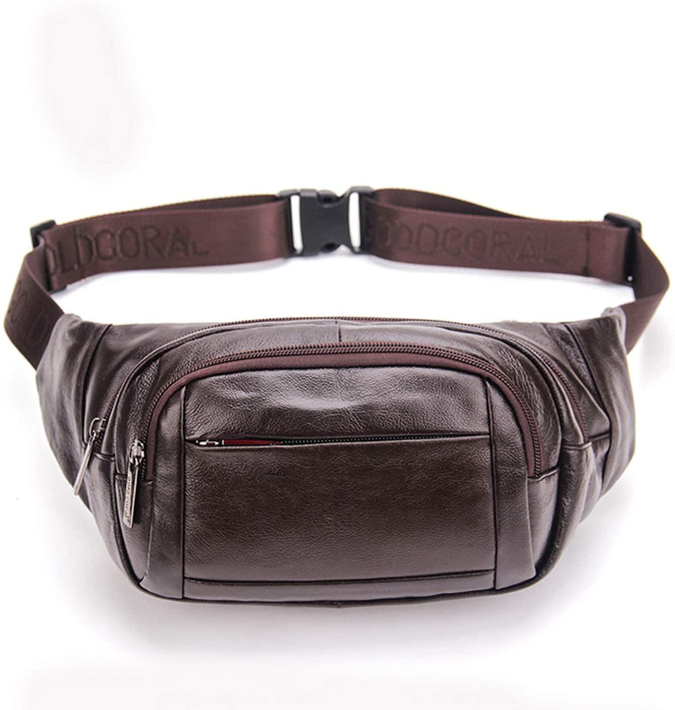 New Men Cowhide Fanny Pack Multi-Capacity Shoulder Travel Bag Casual Purse Genuine Leather Hip Bum Belt Chest Pack Waist Bag,Coffee
