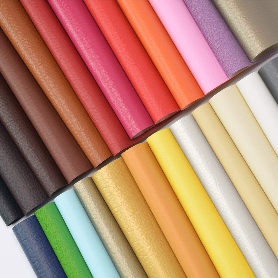 ZIIYAN 24 Pieces 8x13.4(20x34cm) Colored Faux PU Leather Sheets Upholstery Crafts Fabric for Bag Making, Hat Making, Hair Crafts Making, DIY Jewelry Making, Sewing, Shoe Making