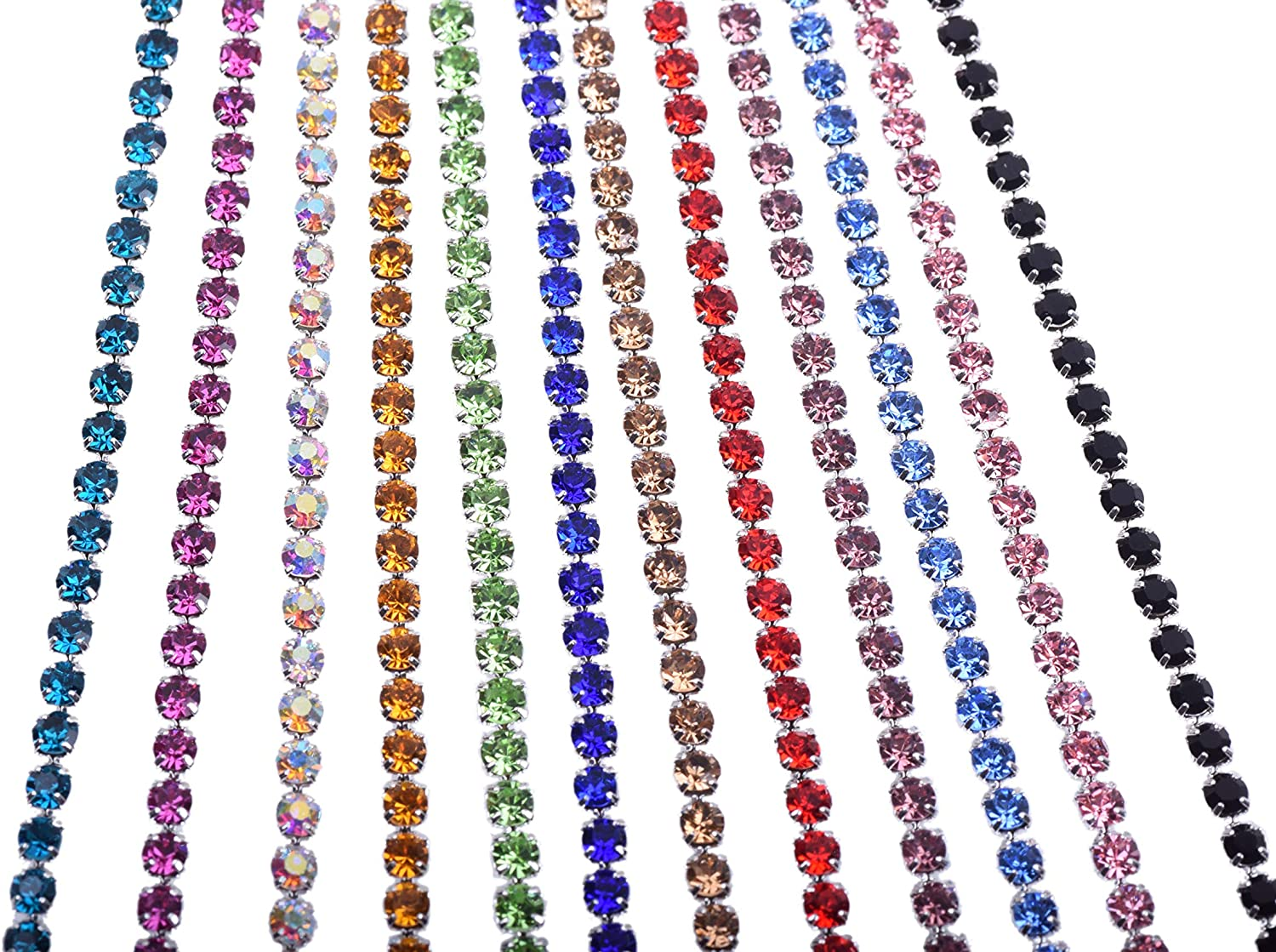 KAOYOO 12 Yards Crystal Rhinestone Chain Trim Mixed for DIY,Sewing,Crafts,Decoration(1 Yard for Each Color,SS12/3.0mm/0.12)