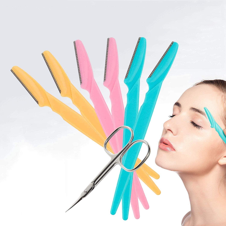 KAISHANE 6Pcs Facial Eyebrow Razors Multipurpose Multipurpose Exfoliating Derma planing Tool Face Razor Eyebrow Trimmer Shaper For Women with Eyebrow Scissors