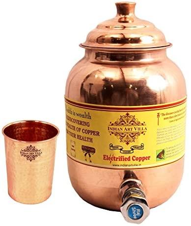 IndianArtVilla Handmade Pure Copper Water Pot Tank Matka 1500 ML, 1 Hammer Gl.