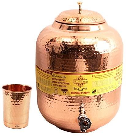IndianArtVilla Handmade Pure Copper Water Pot Tank