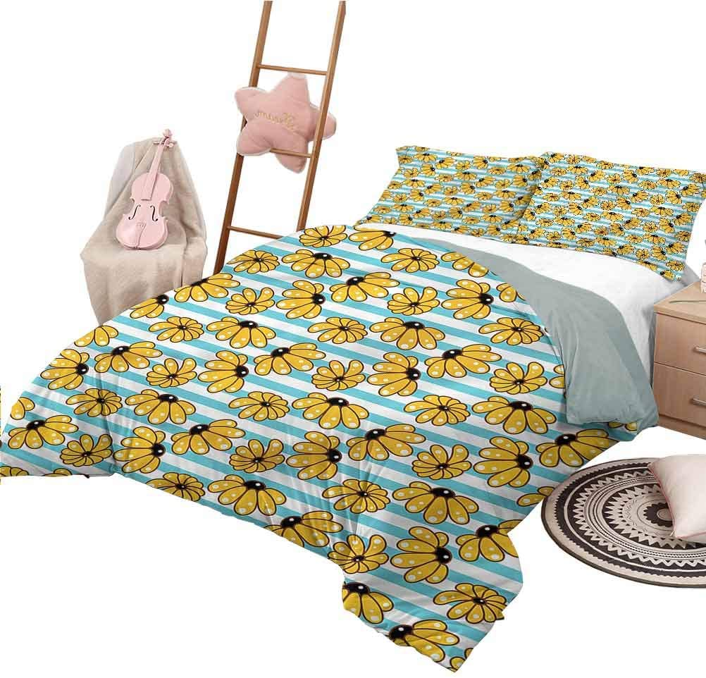 Nomorer Duvet Cover Pattern Queen Size Yellow and Blue Lightweight All Season Bedspread Chamomile Blooms