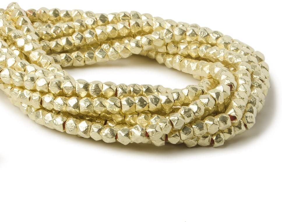 3.5mm 14kt Gold Plated Copper Brushed Faceted Nugget Beads 8 inch 80 Beads