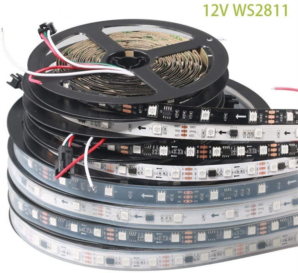 YYY Premium Led Strip Lights, Led Strip Lights with Remote WS2811 Led Strip Lights for Bedroom Home Kitchen Professional & Upgraded (Color : 5m Black 60led IP67)