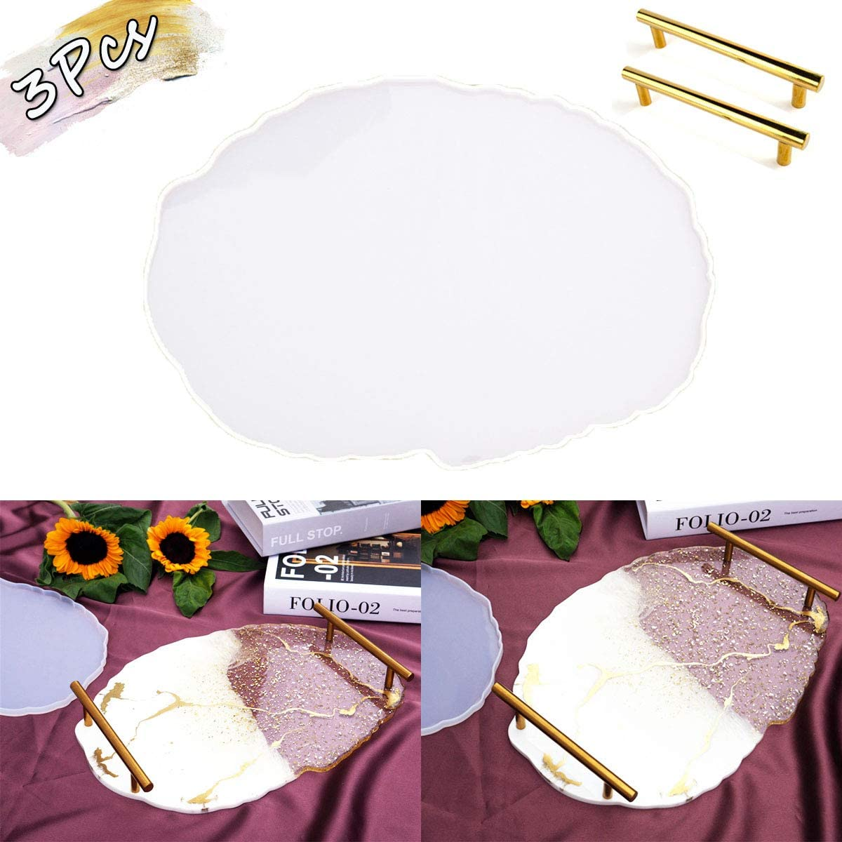 Artuxer Epoxy Resin Mold Irregular Tray Mold Large Silicone Mold for DIY Resin Tray Decoration Craft (Large Oval and Comes with Two Handles)