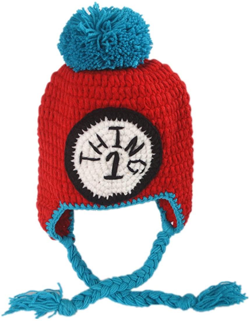 Generic Handmade Crochet Baby Earflap Hat in Red Color